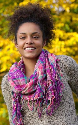 Happy Woman in Scarf - Botox Facial Esthetics - The Fort Collins Dentist